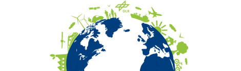 DLR-Grafik zum Themenkomplex Nachhaltigkeit: ein Globus mit dunkelblauen Kontinenten und weißen Wasserflächen vor weißem Hintergrund. Auf der oberen Hälfte wird der Globus von hellgrünen Grafiken eingerahmt: zum Beispiel eine Fabrik mit zwei Baumblättern über dem Schornstein, Windkrafträder, Satteliten, Kinder und Erwachsene, ein Elektro-Auto. Außerdem ist das DLR-Logo zu sehen.