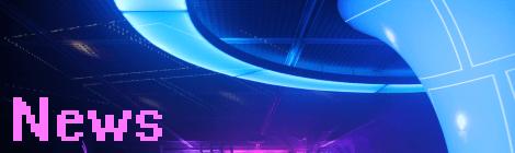 """Signalbanner für News-Artikel. Hellblau leuchtendes, trichterförmiges Lichtelement im dunklen Veranstaltungssaal der Zentralbibliothek. Foto ist von schräg unten aufgenommen, sodass ansonsten nur die Decke des Raumes zu sehen ist. Trichter und Decke sind mit einer Beamer-Projektion angestrahlt, sodass mehrere weiße Rahmen mit je einem Kerzenlicht auf Decke und Trichter zu sehen sind. Links unten steht das Wort """"News""""."""