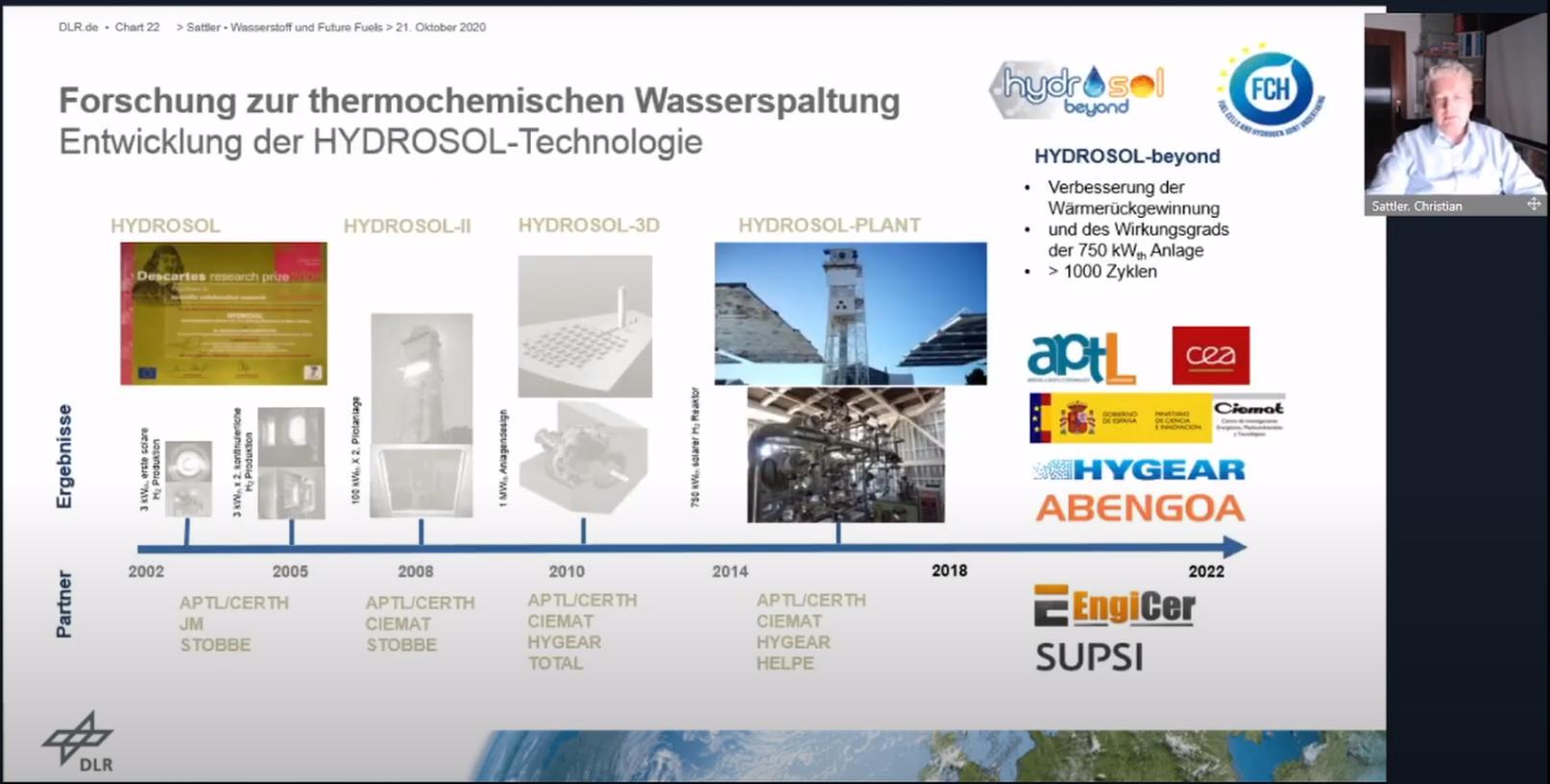 """Screenshot aus dem Skype-Vortrag von Christian Sattler. Überschrift der großflächigen Vortragsfolie: """"Forschung zur thermochemischen Wasserspaltung - Entwicklung der HYDROSOL-Technologie."""" Auf dem Zeitstrahl darunter von 2002 bis 2022 befinden sich die Projekte HYDROSOL, HYDROSOL-II, HYDROSOL-3D, HYDROSOL-PLANT und HYDROSOL-beyond. Bei HYDROSOL-beyond steht: """"Verbesserung der Wärmerückgewinnung und des Wirkungsgrads der 750 kWth-Anlage. Mehr als 1000 Zyklen."""" Der Zeitstrahl deutet mit einem Pfeil an, dass die HYDROSOL-Technologie immer noch weiterentwickelt wird. Unter dem Zeitstrahl stehen Projektpartner aus der Wissenschaft und Industrie. Die Anzahl liegt lange bei 3 bis 4 Partnern. Bei Hydrosol-beyond sind es plötzlich 7 Partner. Oben rechts in der Ecke ist das Kamerabild des Vortragenden Christian Sattler zu sehen."""